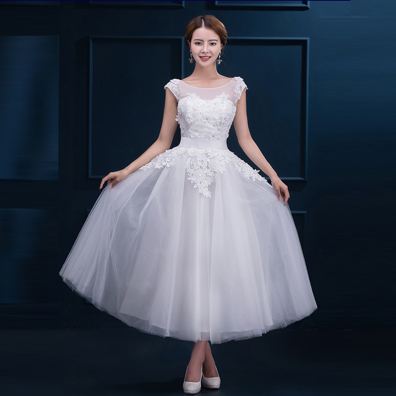 Vintage Lace Short Wedding Dresses Plus Size Robe De Mariee A Line Cap  Sleeves Tea Length Cheap White Red Wedding Dress 2017 January 2020