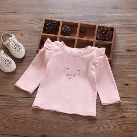 Новорожденных девочек весна осень оказать подкладки верхней одежды детская одежда с длинным рукавом прекрасный мультфильм сладкий круглый воротник Футболки