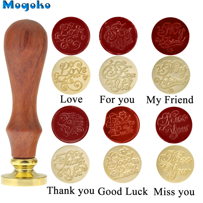 Mogoko 1x Wax Seal Stamp Retro Wood Classic Vintage Decorative Invitation Antique Sealing Stamp /Good Luck/Miss You/My Friend image