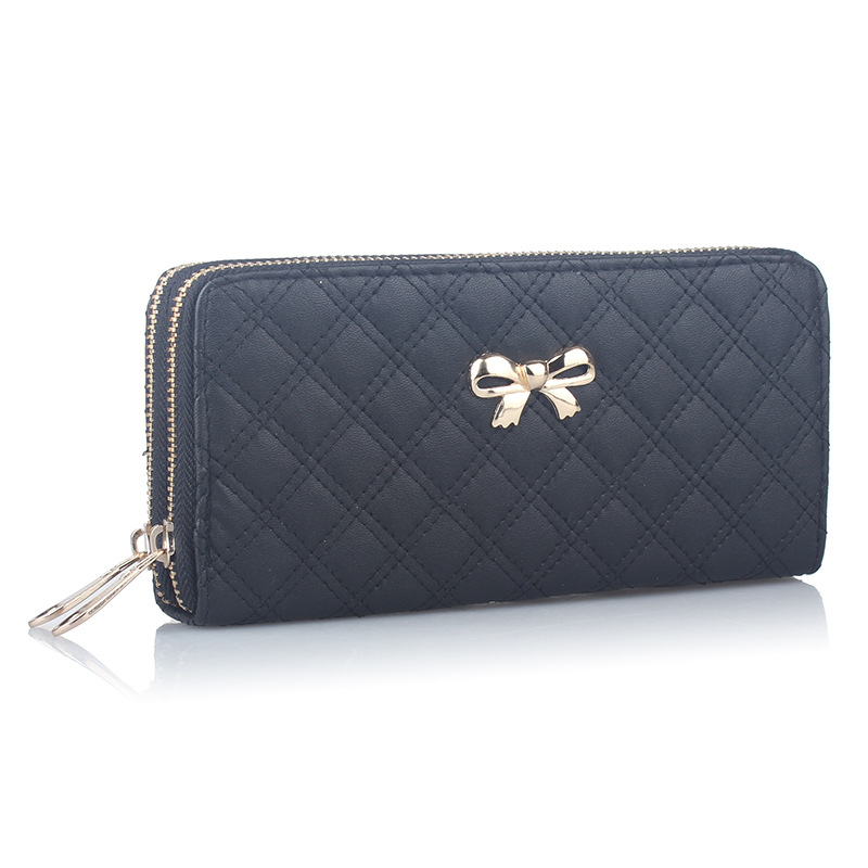 2017 Fashion Women Bowknot Plaid Long Double Zip Clutch Leather Wallet Purse Coin Card Bag High Quality Free Shipping N526