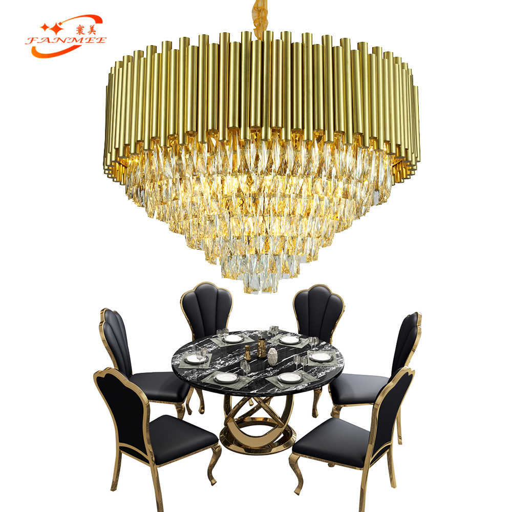 Modern Golden Chandelier Lighting Restaurant LED Chandelier Crystal Pendant Hanging Light for Living Dining Room Bedroom Light