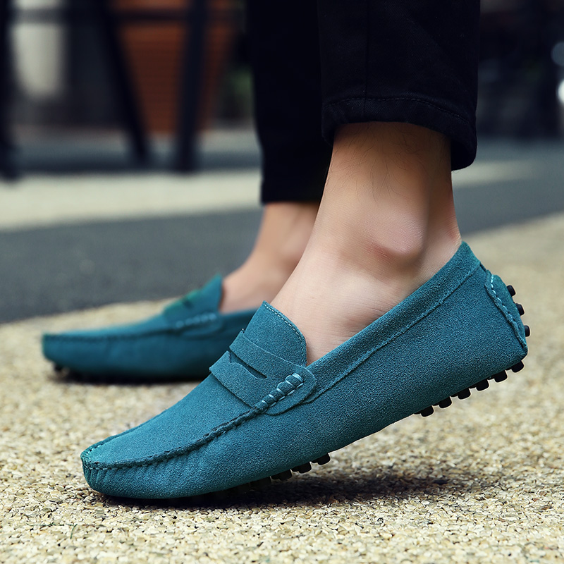 GOXPACER Spring Autumn Loafers Boat Shoes Men Genuine Leather Casual Shoes Fashion Suede Men Leisure Shoes Driving Free Shipping