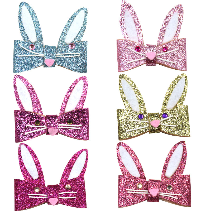 1PCS Novelty Lovely Rabbit Ears Elastic Hair Bands Girls Ribbon Clip Bow Girl Hair Tie Hairpin Handmade Fashion Hair Accessories