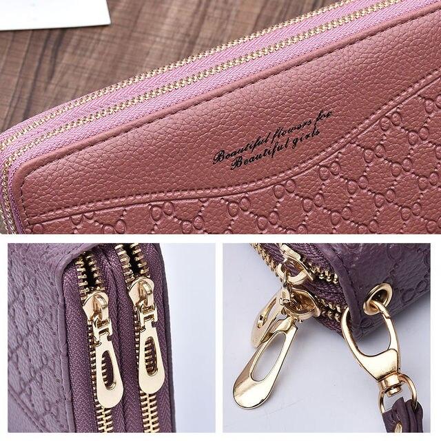 women's wallet portfel damski purse female Double Zip wallet large female leather genuine designer wallets monederos para mujer 4