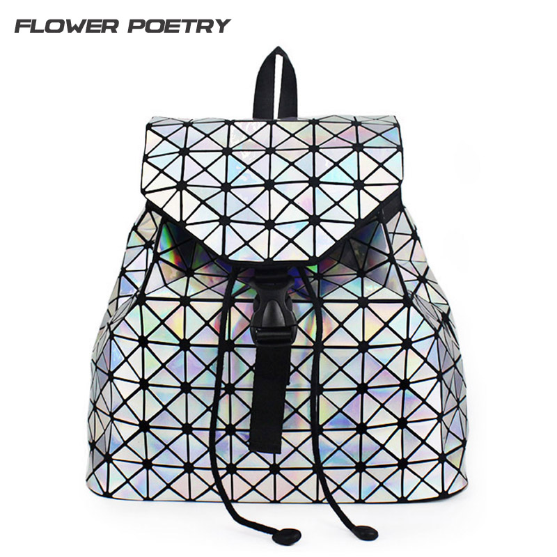 Women Backpack Diamond Lattice Geometry Quilted School Bag Backpacks For Teenage  Girl Luminous School Bags Holographic Mochila 34e3477f17088
