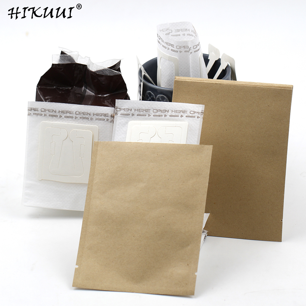 50pc Drip Coffee Filter Bag And Kraft Bag Moisture Proof Coffee Packaging Portable Coffee Filter Set