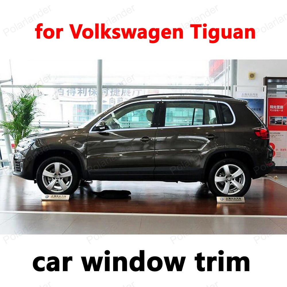 Styling Fenster Trim Dekoration Streifen Auto Exterior Zubehör für Volkswagen Tiguan Edelstahl ohne spalte-in Chrom-Styling aus Kraftfahrzeuge und Motorräder bei
