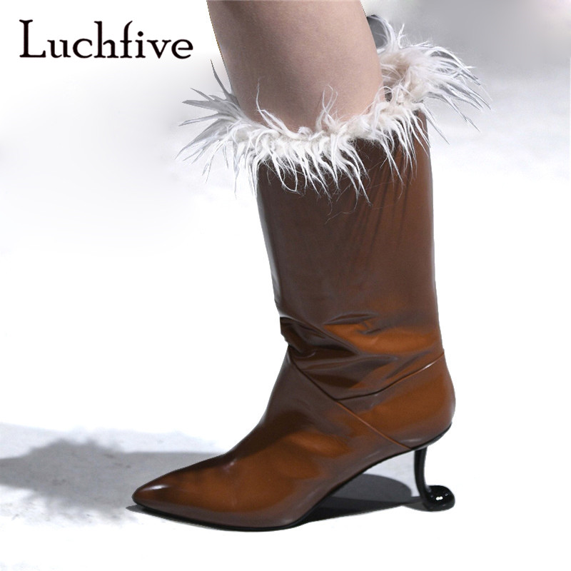 Strange heels wool shoes woman genuine leather sexy pointy toe short boots grey brown fashion slip on winter boots womenStrange heels wool shoes woman genuine leather sexy pointy toe short boots grey brown fashion slip on winter boots women