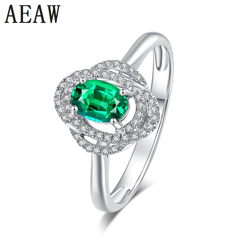 Genuine 14K 585 White Gold 2.0carat Lab Emerald Colombian AAA Grade Setting with Moissanite Halo Cluster Style For WomenGenuine 14K 585 White Gold 2.0carat Lab Emerald Colombian AAA Grade Setting with Moissanite Halo Cluster Style For Women