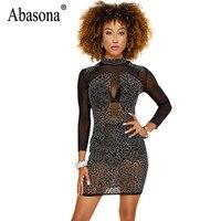 Abasona Women Diamond Rhinestone Dress Sexy Sparkle Long Sleeve Bodycon Dress Female Sexy Party Club Wear