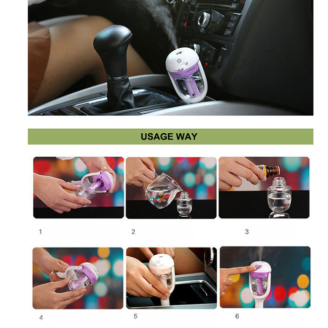 1Pcs 12V Car air freshener oil diffuser Car Steam Air Humidifier Aroma Diffuser Mini Air Purifier Diffuser Mist Maker Fogger 2