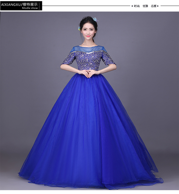 100%real royal blue beading see through shoulder ball gown Medieval Renaissance Gown queen Victorian dress  Belle ball