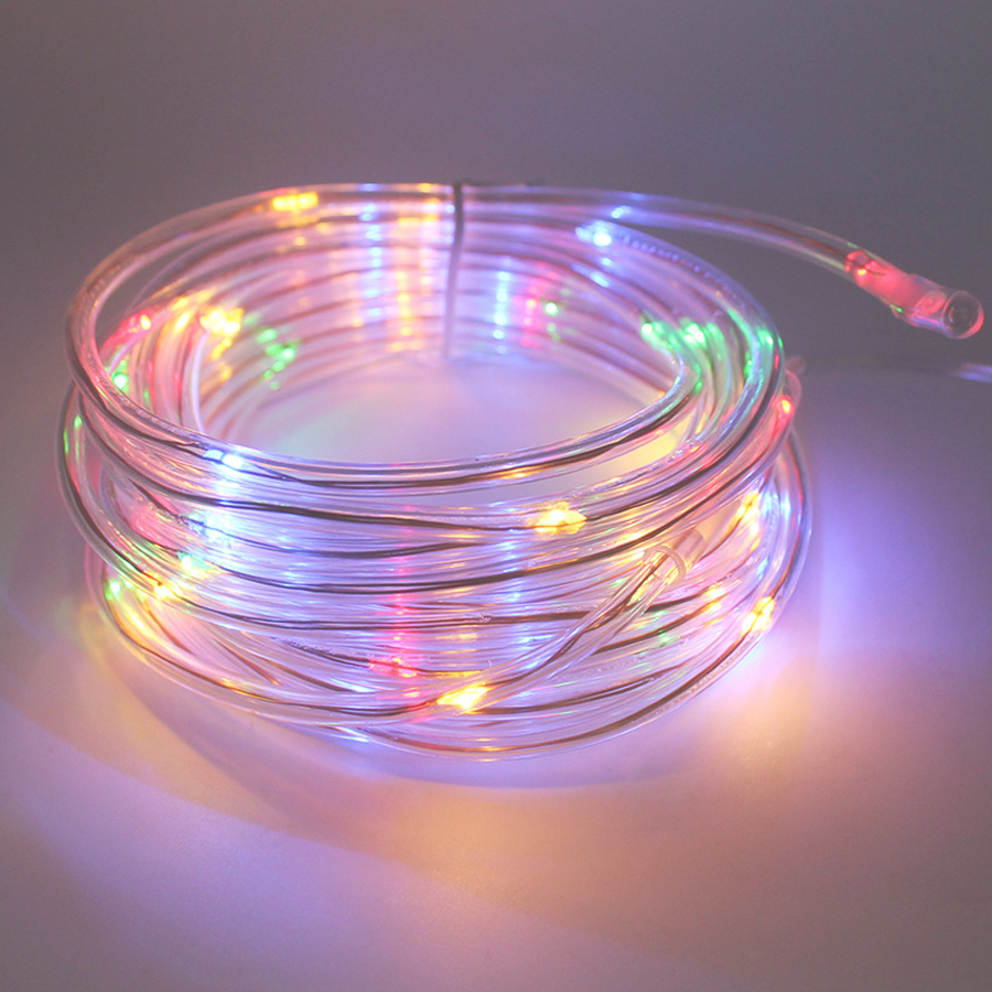 7M 50Leds Solar LED String Lights Outdoor 9 Colors Rope Tube Led String Solar Powered Fairy ...