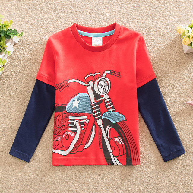 2016 new T-shirt printing baby&kids neat children cartoon long-sleeved T shirt children clothing baby boy clothes Kids wear L868