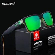 Kdeam óculos de sol polarizado para homens, óculos de sol esportivo com cores loucas, bloqueio mais uv com caixa