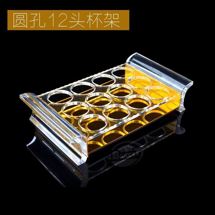 BAKEST Rond 12 Trous Accessoires de Table Acrylique Porte-bouteilles Liqueur Porte-gobelets Tasse Supports
