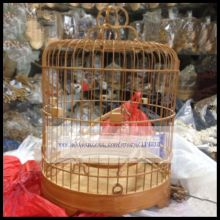 1 PCS 22 24cm Old bamboo dome handmade bird cage embroidered eye golden blue yellow bean cage(48 52 branch)