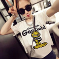 2016 hot sale cartoon Garfield Print big Size women T-shirt  wholesale base