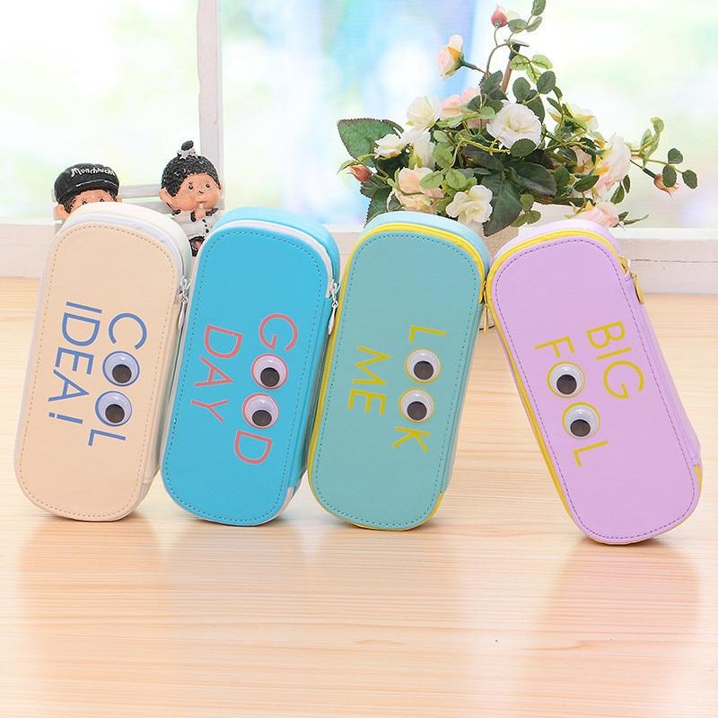 Korea Cartoon Eyes Printing Women Cosmetic Bags Leather High Capacity Teenage Girls Cute Pencil Cosmetic Case Storage Bags
