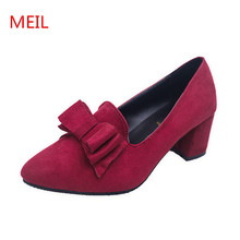 MEIL Shoes Women Spring Autumn Suede Heel Pumps Daily Casual sapatos Women Shallow Work Shoes High Heels ladies Shoes