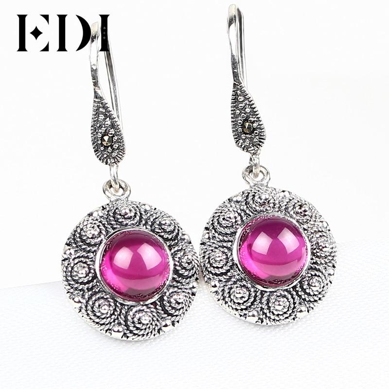EDI Для женщин Винтаж стерлингового серебра 925 природных драгоценных камней Висячие серьги для Для женщин Мода серебро gemstone Ювелирные украшения