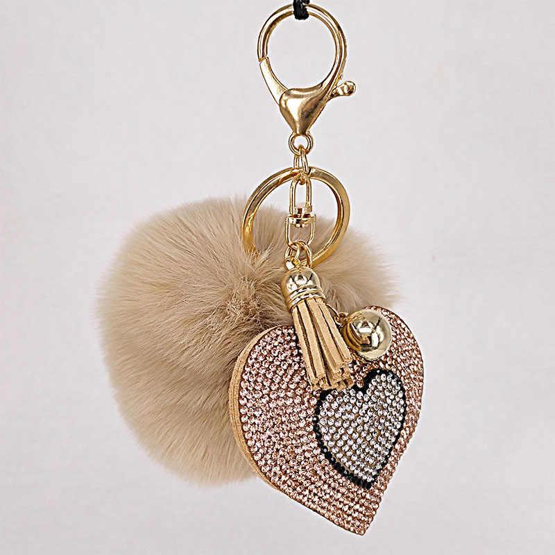 Pompón llavero strass corazón bolsas para mujer llavero hecho a mano accesorios llaveros colgantes encantadora decoración de suspensión