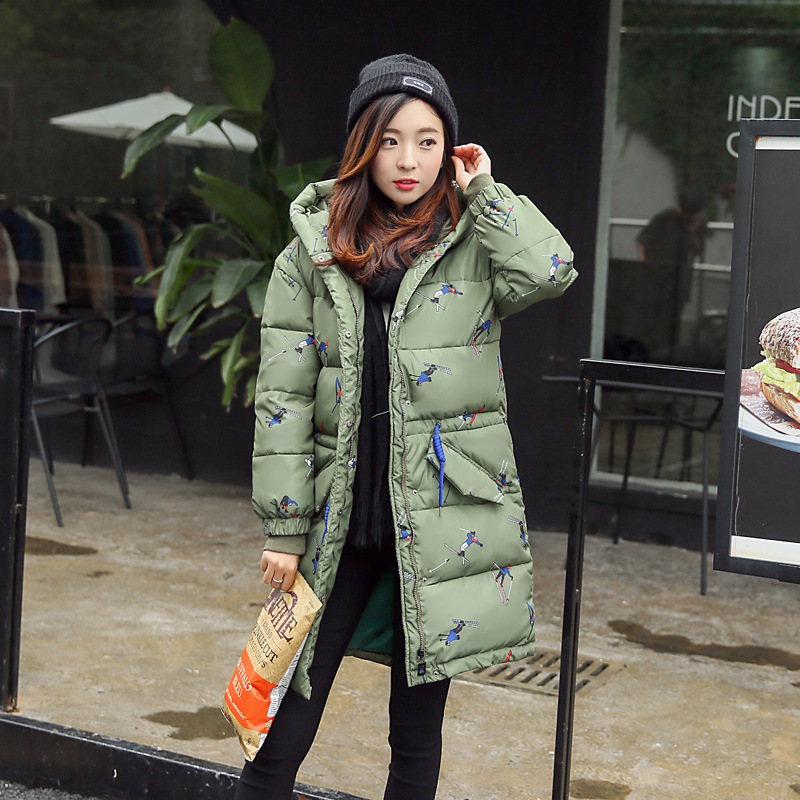 Winter Women Coat Fashion Hooded Military Long Down Cotton Woman Coat Printed Long Sleeve Women Padded