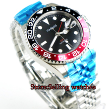 New 40mm parnis mens watch GMT Jubilee style sapphire glass black dial Bracelet luminous automatic movement wrist men