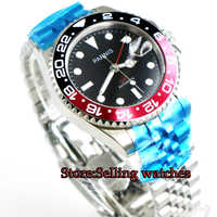 New 40mm parnis men's watch GMT Jubilee style sapphire glass black dial Bracelet luminous automatic movement wrist watch men