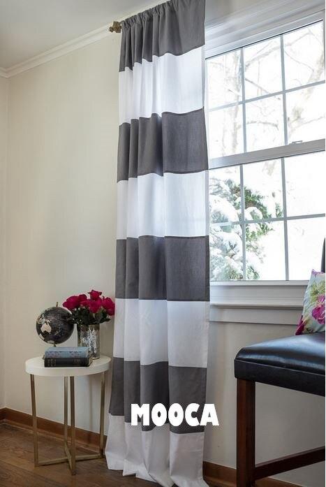 100 coton gris et blanc bande horizontale rideau panneau - Rideau blanc et gris ...