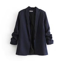 Stripe Small Suit Autumn Spring Women Blazer Fashion Lady Cuff folds Blazers Blue Suits Female Loose Casual Tops Jacket A2737