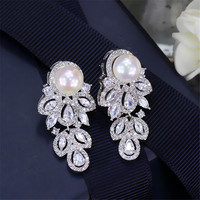 OUSNOW Top Quality Bling Marquise Cut Cubic Zirconia Stone Big Wedding Party Pearl Drop Earrings Jewelry For Women E0196