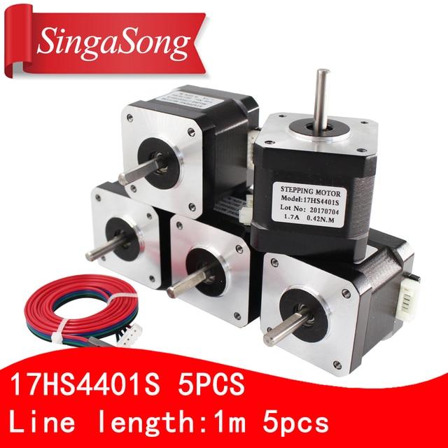 5pcs/lot. Free Shipping 3D printer 4-lead Nema17 Stepper Motor 42 motor Nema 17 motor 42BYGH 1.7A (17HS4401S) motor for CNC XYZ