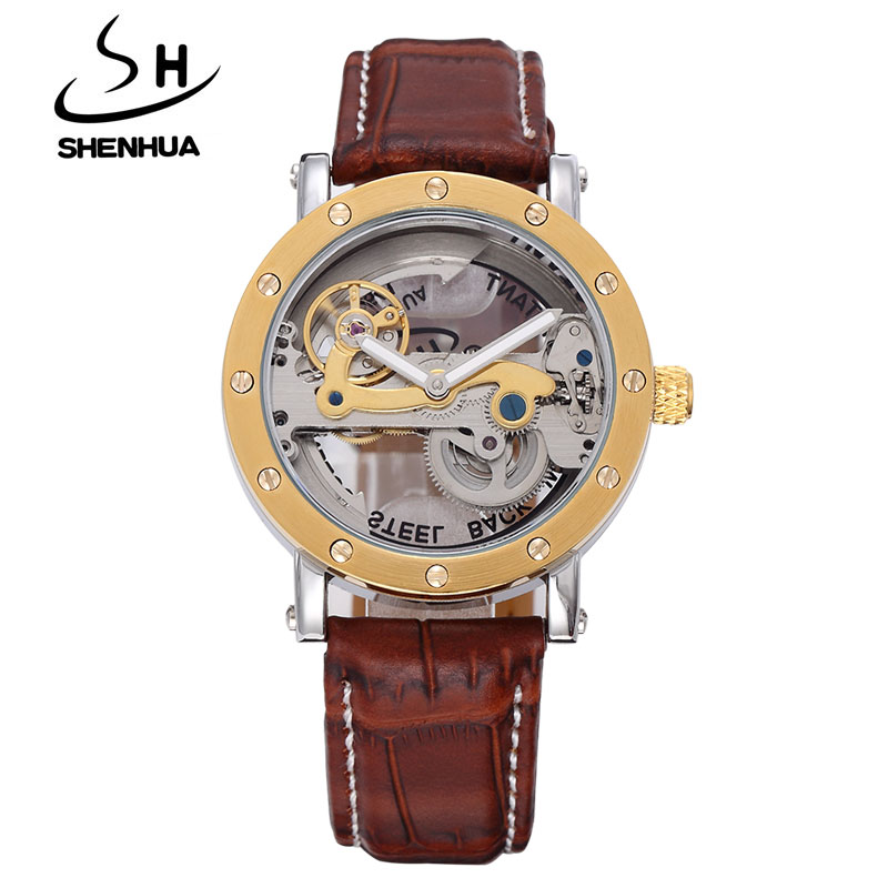 SHENHUA Steampunk Transparent Skeleton Crystal Flywheel Automatic Leather Strap Dress Men Mechanical Watch relogio masculino ik все цены