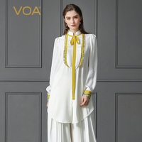 VOA тяжелый шелк блузка плюс Размеры 5XL белый Базовая офисная рубашка Для женщин топы желтый ленты Повседневное с длинным рукавом Формальные