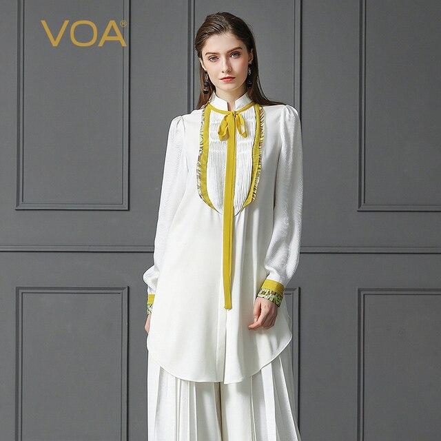 VOA Heavy Silk Blouse Plus Size 5XL White Basic Office Shirt Women Tops Yellow Ribbon Casual Long Sleeve Formal Spring B378