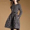 As mulheres Se Vestem 2016 Outono Inverno Manga Comprida A Linha O Pescoço da Manta Do Vintage Vestidos Casuais mulheres de vestido