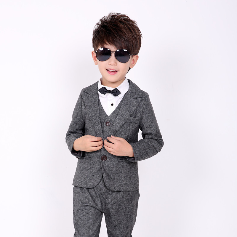 Children suit 2018 fashion children's clothing autumn and winter boys suit performance costume solid color three / piece suit children s suit 2018 fashion england wind children s clothing autumn and winter boy plaid suit performance clothing