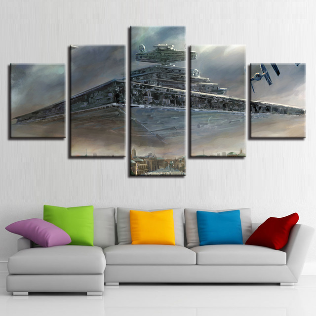 Imperial Home Decor: Canvas Paintings Wall Art Framework 5 Pieces Star Wars