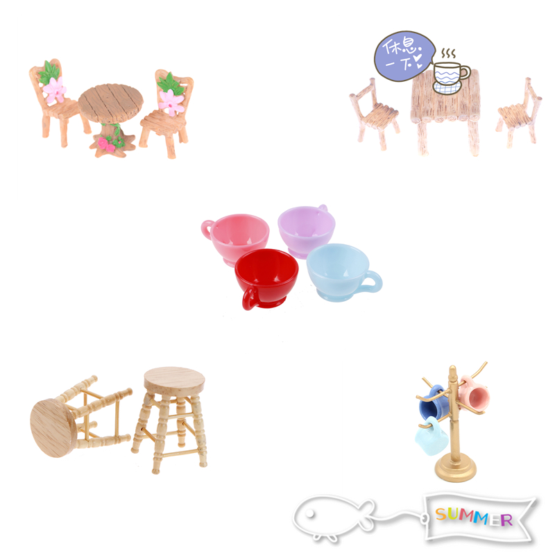 1/12 Scale Dollhouse Miniature Dining Chair Table Furniture Set For Doll House Kitchen Food Furniture Toys Sets