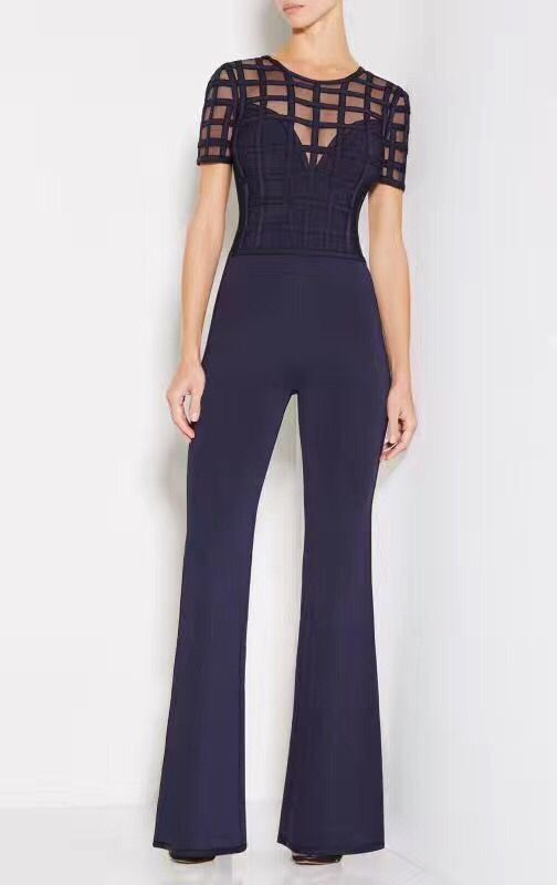 Top Quality 1:1 Women's HL Bandage Jumpsuits Celebrity Fashion Full Length Jumpsuits Holloe Out Sexy Bodywear