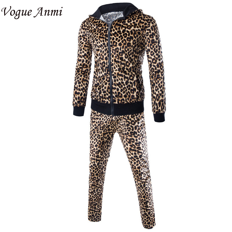 Vogue Anmi.New arrival Mens Leopard print Hoody Men Jacket Sweatshirt High-quality Suit Men Slim pant+coat