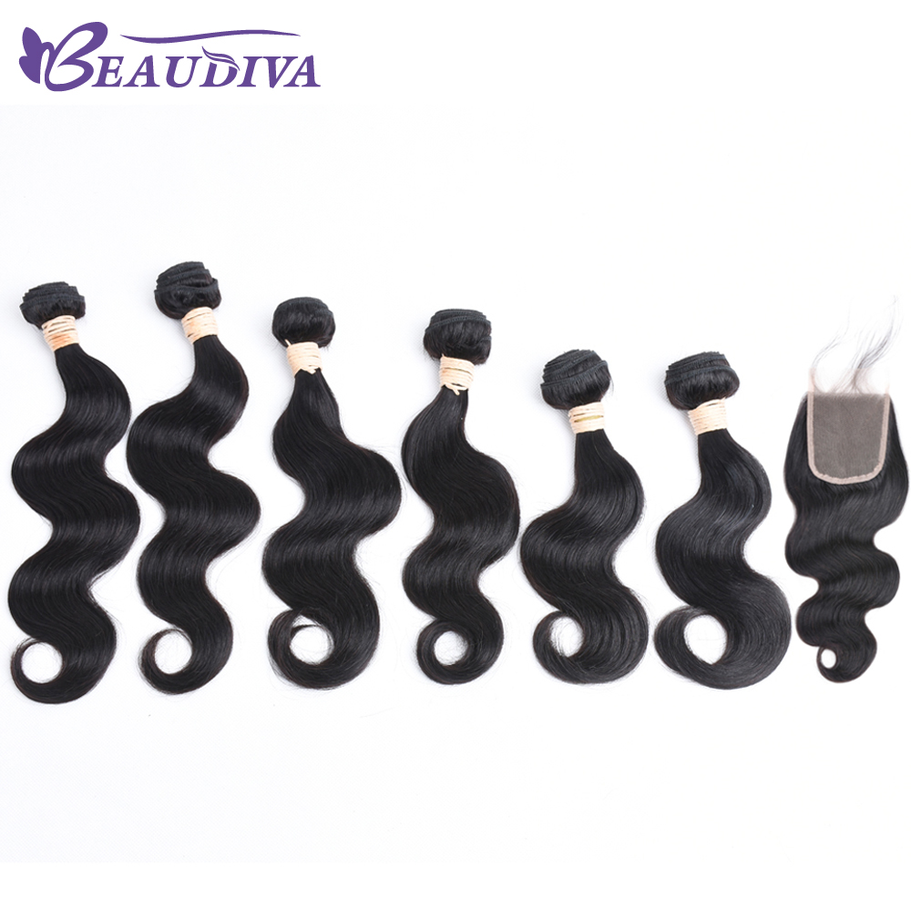 Beaudiva Brazilian Body Wave Bundles With Closure Non Remy Hair Weft Weave 6 Bundles Human Hair