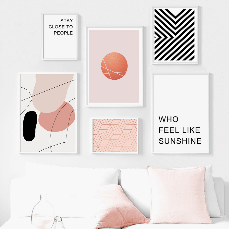 Geometric Line Round Motivational Quotes Wall Art Canvas Painting Nordic Posters And Prints Wall Pictures For Living Room Decor