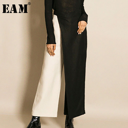 [EAM] Новинка весны 2020, модные Асимметричные свободные штаны контрастного цвета с разрезом по щиколотку, широкие штаны для женщин, QE2