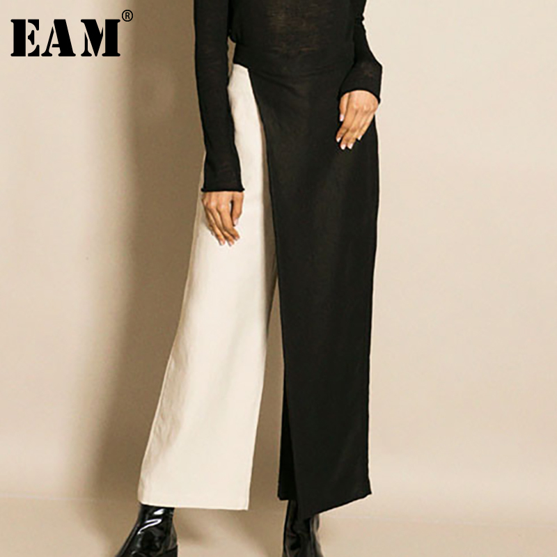 [EAM] New Spring  2020 Fashion Contrast Color Asymmetry Loose Split Joint Ankle-length Wide Leg Pants Women Tide QE2