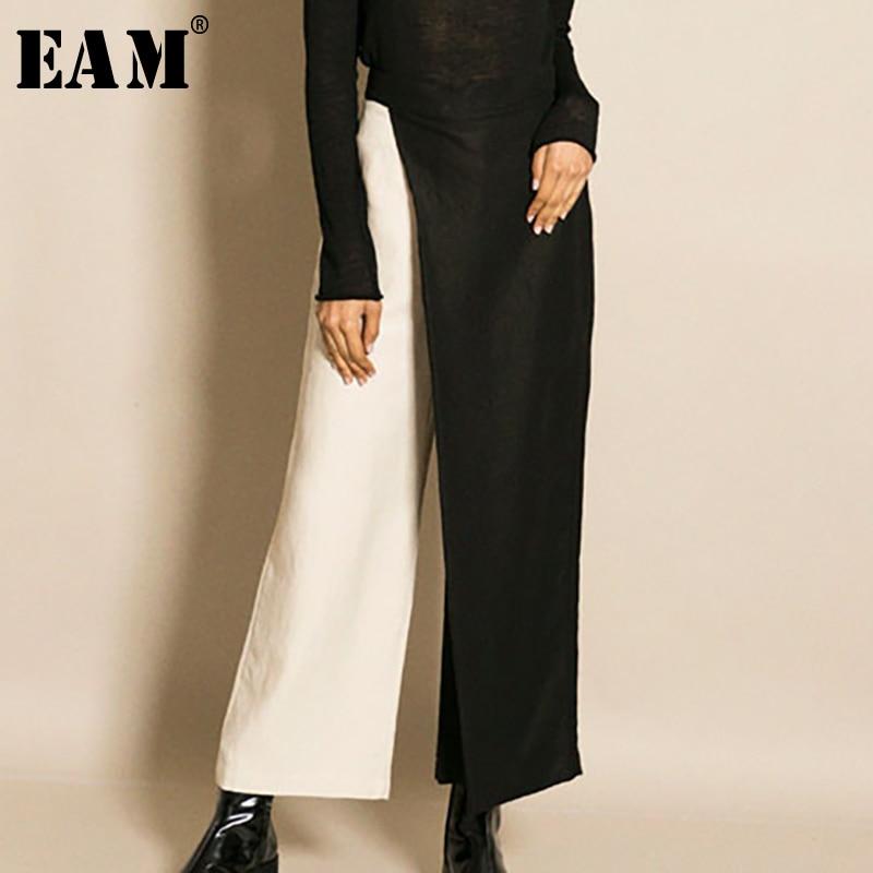 [EAM] New Spring  2020 Fashion Contrast Color Asymmetry Loose Split Joint Ankle-length Wide Leg Pants Women Tide QE2