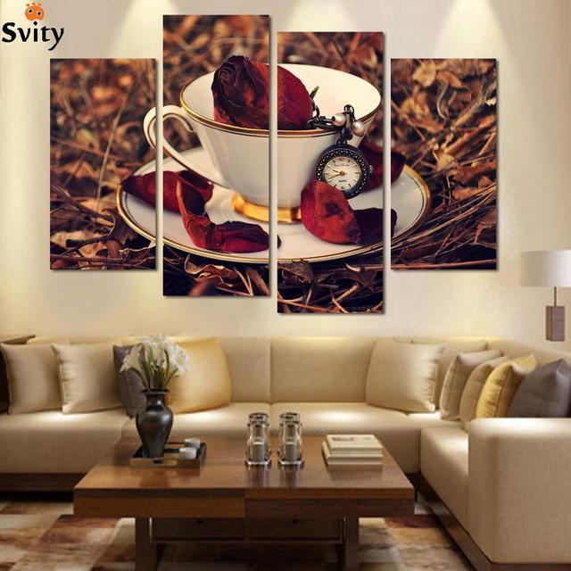 Schon Heißer Küche 4 Stück Leinwand Wandkunst Moderne Nostalgischen Kaffee Blume  Malerei Zu Hause Kunst Bild Malen