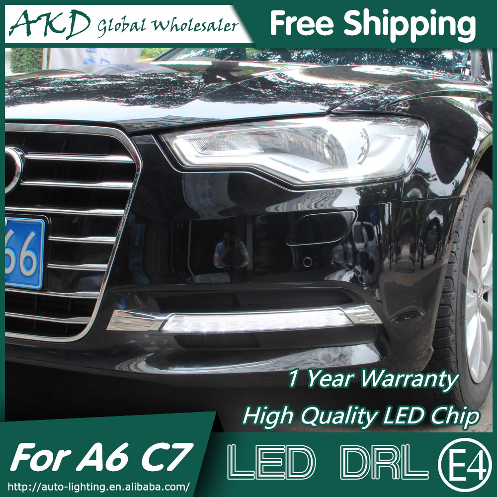 AKD Car Styling LED Fog Lamp for Audi A6 C7 DRL 2013-2015 A6L LED Daytime Running Light Fog Light Parking Signal Accessories akd one stop shopping for kuga drl 2014 escape led drl daytime running light fog lamp car styling automotive accessories