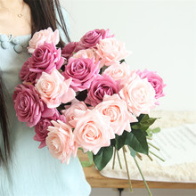 1 pcs Pink Artificial Rose Flower Peony Bridal Bouquet Wedding Party Home Table Decoration Valentines Day Gift Fake Flowers